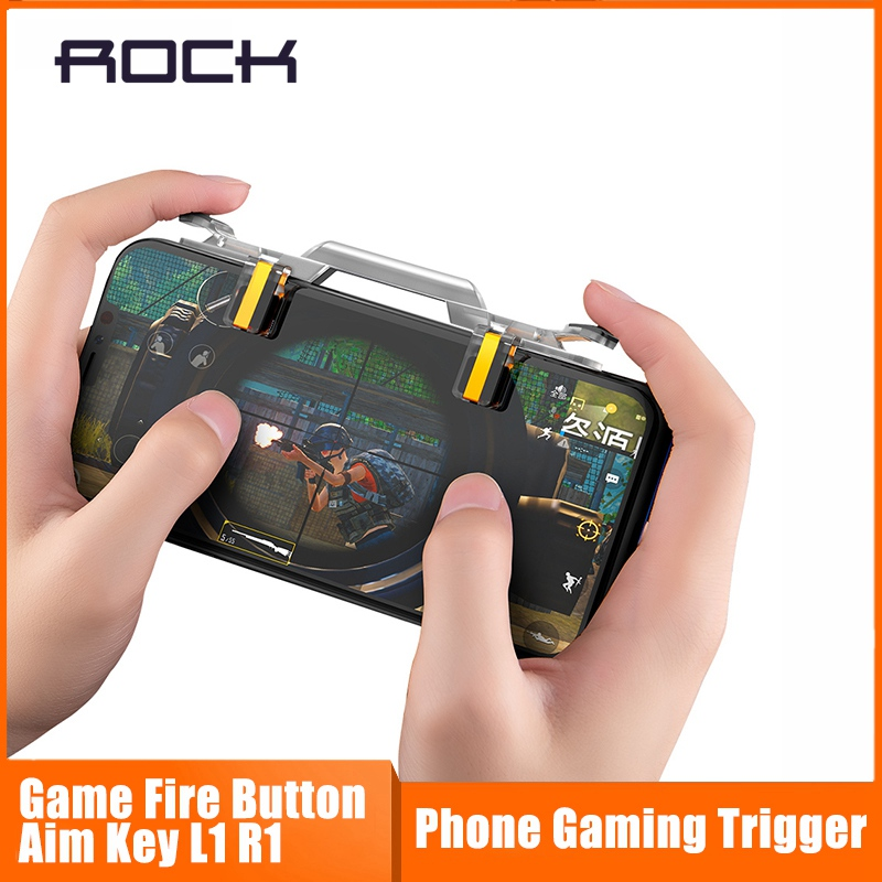 Mobile Phone Gaming Trigger for PUBG Rules of Survival , ROCK 1Pair Phone Game Fire Button Aim Key L1 R1 Shooter Controller XS image