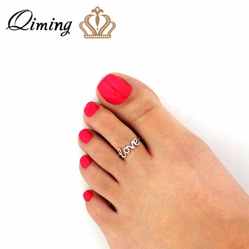 QIMING Letter Love Toe Ring Sexy Beach Foot Jewelry Bohemia Style Gold Rings For Women Adjustable Female Finger Ring Gift