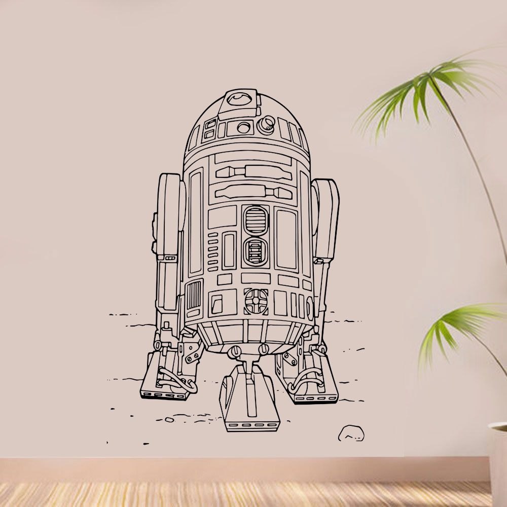 R2D2 Star Wars Wall Decal Cool Star Wars Vinyl Sricker Teen Boy Dorm Bedroom Cool Decoration Self adhesive Poster C452 in Wall Stickers from Home Garden