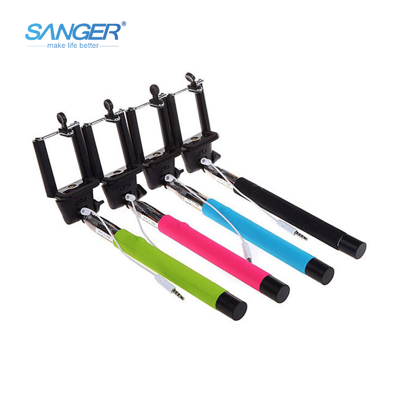 SANGER Z07 5S Wired Selfie Stick2 in 1 Monopod Handheld Extendable Buit in Shutter For iPhone