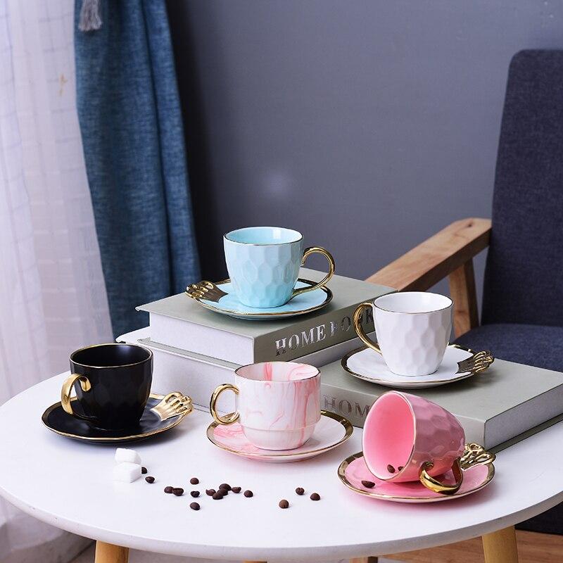 Скандинавские керамические чашки для кофе, простые креативные золотые боковые чашки для кофе, набор с чашкой для дома, кафе, Офисная чашка, В...
