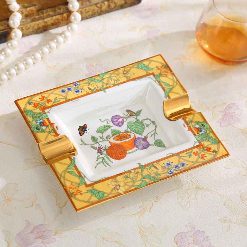 Europe Luxury Gold Fine Bone China Ashtray Handmade Rectangular Porcelain Cigar Ash Tray Smoking Accessories Gifts
