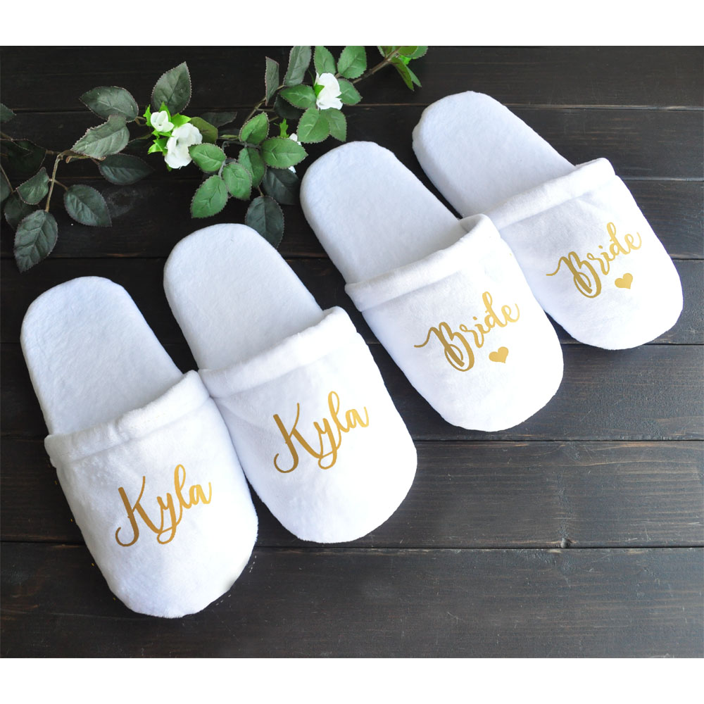 6bf6e0034b2 Bridesmaid Slippers, Personalised Wedding Slippers, Bride Slippers,  Bridesmaid Gift,Bridal Party,Spa Slippers