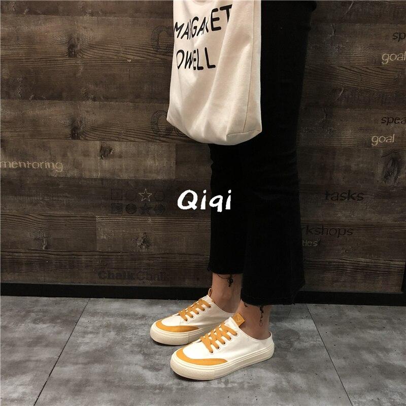 vert Bleu Sauvage 2018 Glisser Nouveau jaune Chaussures Coréenne En Petit De Femmes La Version Moitié Femme Blanc Tissu Toile xavqnT8f