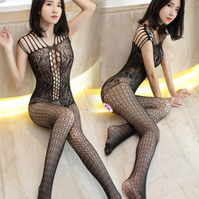 Sexy lingerie Body Suit black Medium sleeves hollow Siamese open crotch net teddy sexy costumes bodystockings hot