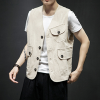Men Summer Casual Vest Jacket Male Solid Color Sleeveless Coat Japan Style Fashion Waistcoat Outerwear Plus Size M 5XL