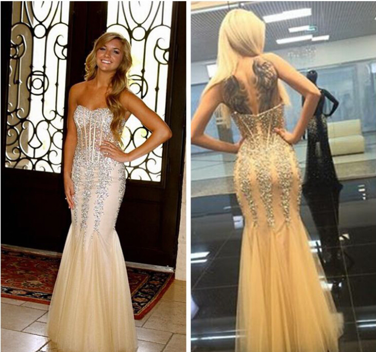 2015 New Fashion luxury crystal Mermaid See Through Corset Crystal Evening Brand Dress Prom Gown