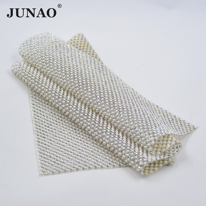 JUNAO 24 * 40cm Hotfix Pearl Rhinestones Trim Mesh White Жемчужная Білезік Appliques Clear Crystal Strass Banding Roll In Clothes