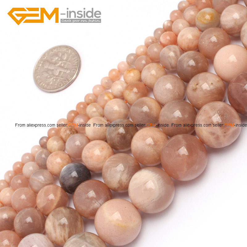 Gem-inside 4-14mm Natural Stone Beads Round Sun Stone Beads For Jewelry Making B
