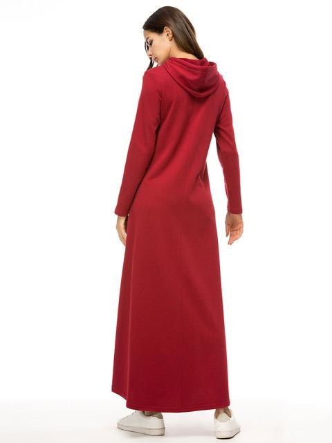 Sport Cotton Abaya Hooded Dresses, Long Dress, Turkey Fashion