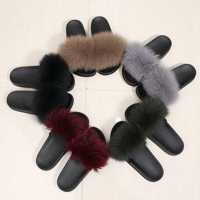 women summer slippers flat fox fur slippers nature real fur beach