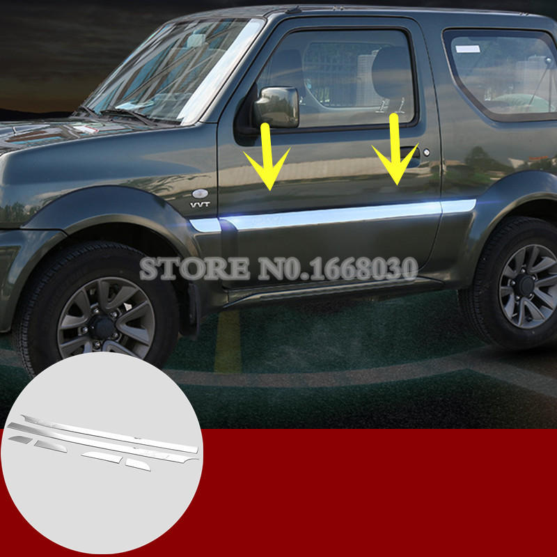 ABS Chrome Side Door Body Molding Cover Trim 6pcs For Suzuki Jimny 2007-2015 mopai abs exterior outer car body door side decorative sticker moulding trim car cover styling for suzuki jimny 2008 up