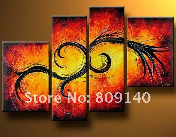 Abstract decoration oil painting on canvas together high for Hotel wall decor