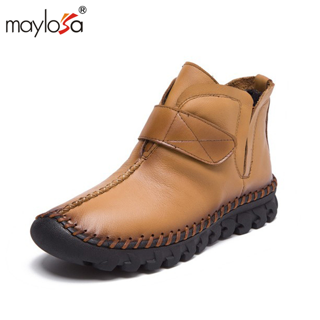 MAYLOSA 2017 New fashion women Genuine Leather Boots Vintage Style Flat Booties  Zip Ankle Boots Women's Shoes  zapatos mujer