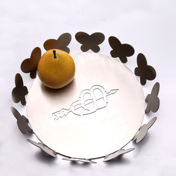 Modern European style simple creative 304 stainless steel plate fruit basket metal Cupid wedding home crafts decorative pots