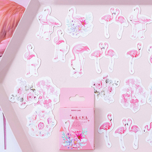 45pcs/pack Kawaii Pink Flamingo Boxed Set Decorative Sticker DIY Adhesive Label Scrapbook Sticky Bookmark Stationery