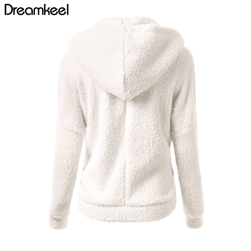 Solid Color Coat Women Thicken Soft Fleece Fashion Casual Outwear Coat Winter Autumn Warm Jacket Hooded Solid Color Coat Women Thicken Soft Fleece Fashion Casual Outwear Coat Winter Autumn Warm Jacket Hooded Zipper Overcoat Female Y