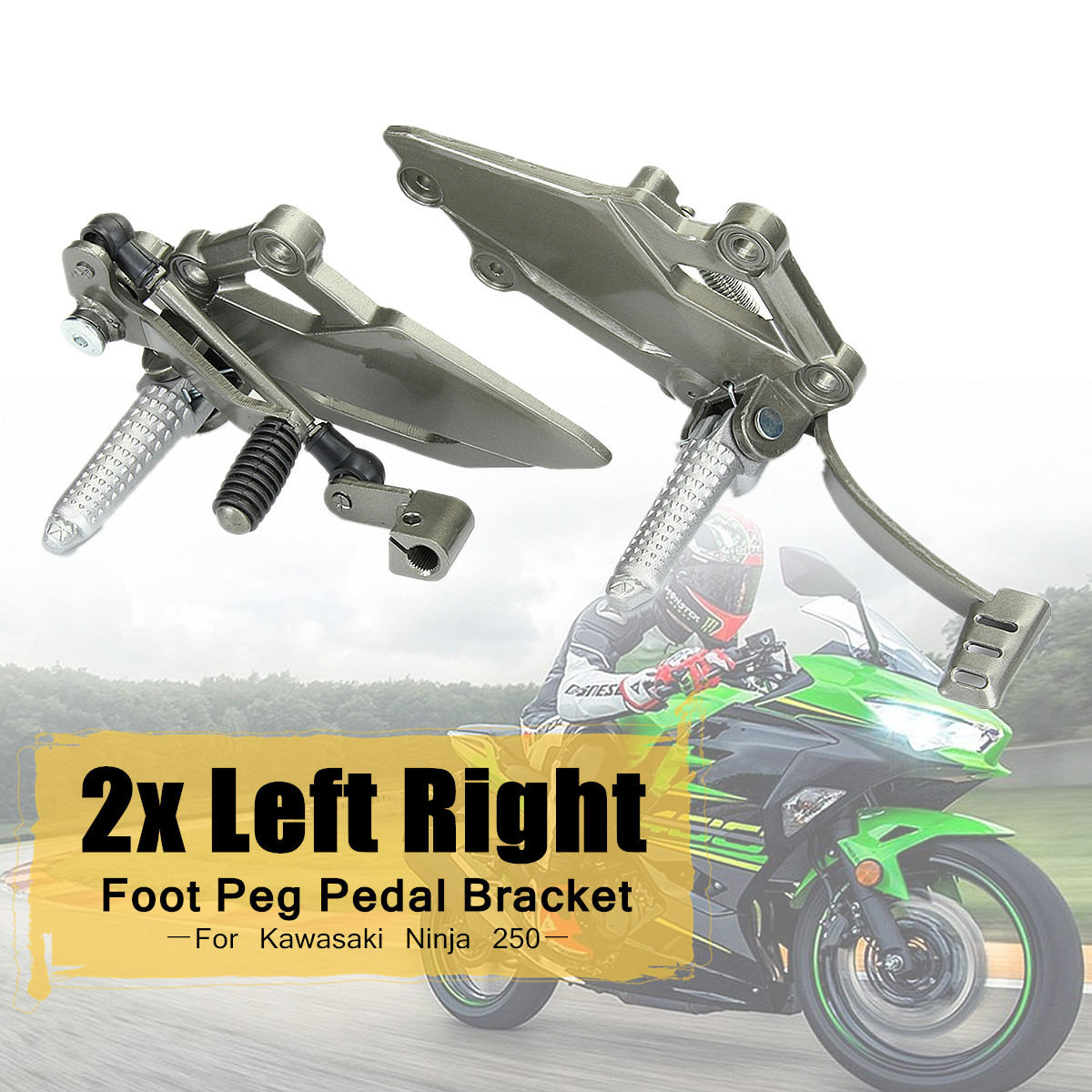 2x Left Right Rear Foot Peg Brake Pedal Footrest Bracket For Kawasaki Ninja 250 Aluminum Alloy Surface Polishing Galvanized