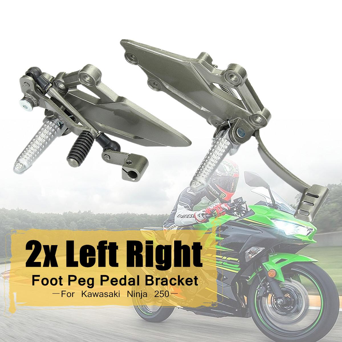 2x Left Right Rear Foot Peg Brake Pedal Footrest Bracket for Kawasaki Ninja 250 Aluminum Alloy Surface Polishing Galvanized