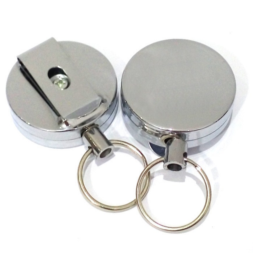 High Resilience Steel Wire Rope Key Ring Metal Retractable Key Chain Alarm Key Ring Anti Lost Key Chain Outdoor Tool