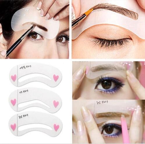 Hot 3Pcs/Set Eyebrow Trimmer Reusable Stencils Eyebrow Drawing Guide Card Brow Template DIY Make Up Tools