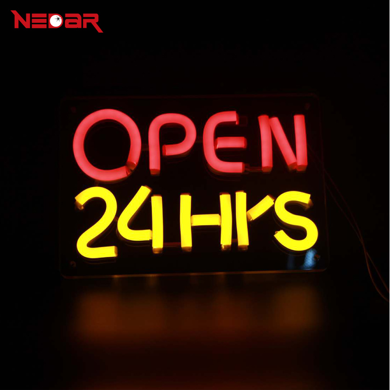 LED Neon Open 24 Hours Sign with 12V ultra bright led neon flexible tube and clear acrylic customized DIY led advertising lights