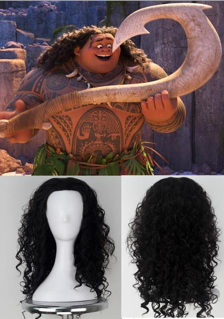 Maui disfraces Cosplay rizado peluca chico de Halloween para adultos de Moana porque carnaval Disguisement 45 CM de Halloween Cosplay Accesorios