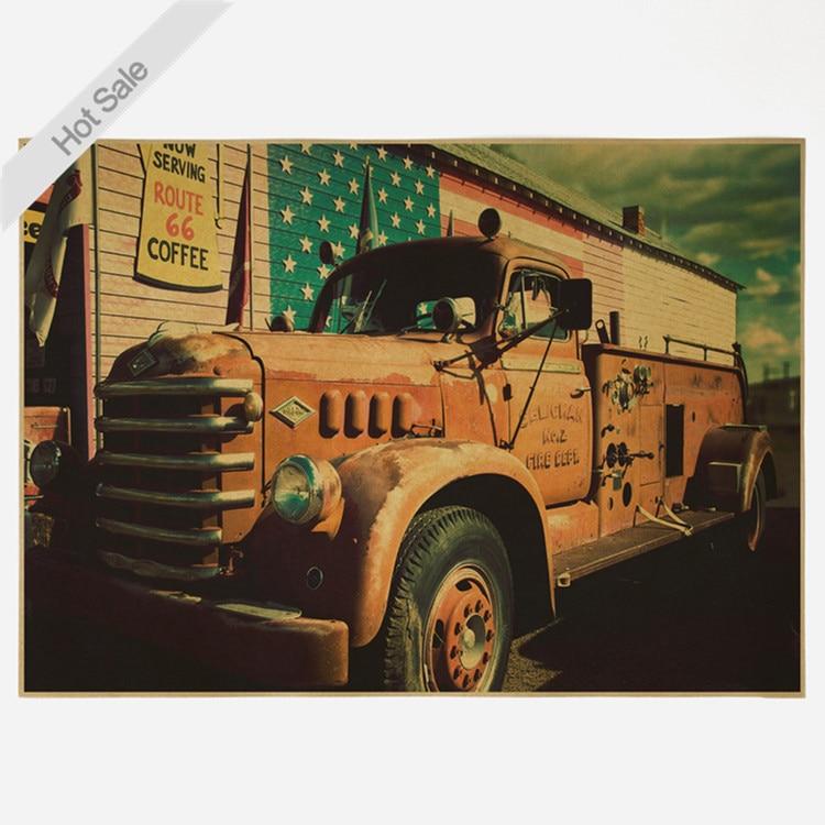 Vintage Dilapidated old truck Kraft Paper Poster Retro Bar Cafe Living Room Home Decor Wall Art Crafts Sticker  42x30cm YTP-081