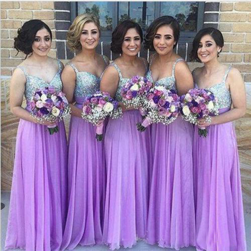 a183e3220580 2018 New Lilac Bridesmaid Dresses Silver Sequins Straps Sweetheart Neckline  Maid of Honor Dress Formal Party