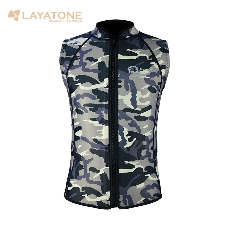 Layatone Wetsuit Vest Men 2mm Neoprene Camouflage Diving Suit Top Vest Surfing Snorkeling Fishing Suit Sleeveless Scuba Diving