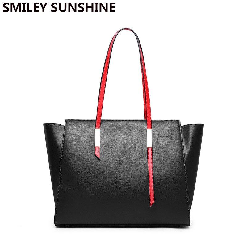 Big Genuine leather ladies shoulder bags female luxury handbags women bags designer big fashion brand leather