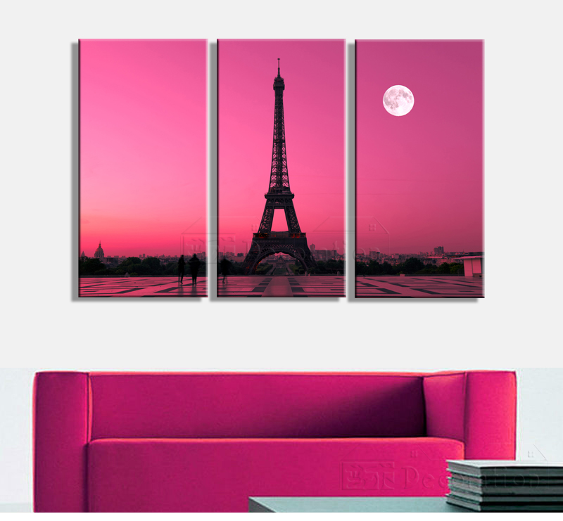 Eiffel tower paris 3 piece canvas wall art multi panel oil painting ...