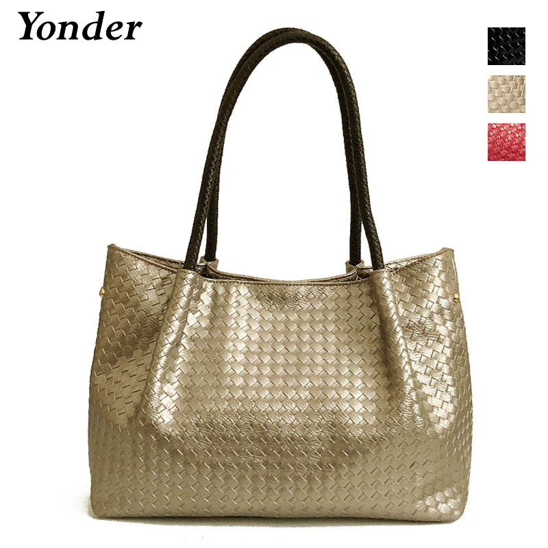 43f8a8857096 Gold knitted casual tote shoulder bag female Large womens leather handbags  ladies with long handle Big black hand bags for women