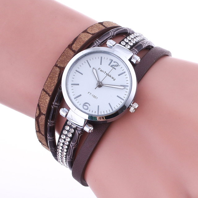 2018 New Elegant Fashion Watch Women Winding Leather Bracelet Watch Dress Clock Women Quartz Wristwatch Hodinky Relogio Feminino