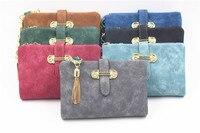 2017 Hot Selling Women Short Wallet Nubuck Leather Purse Jewel Tassel Clutch Bag Hasp Business Bag