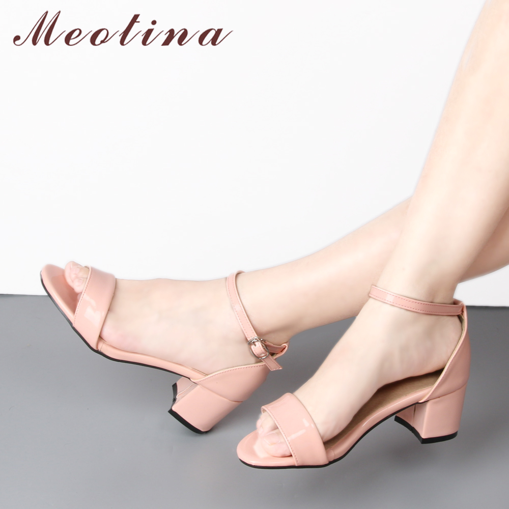 Meotina Summer Women Sandals 2018 Ankle Strap Square Heel Sandals Open Toe Mid Heels Fashion Shoes Woman Pink Beige Plus Size 43