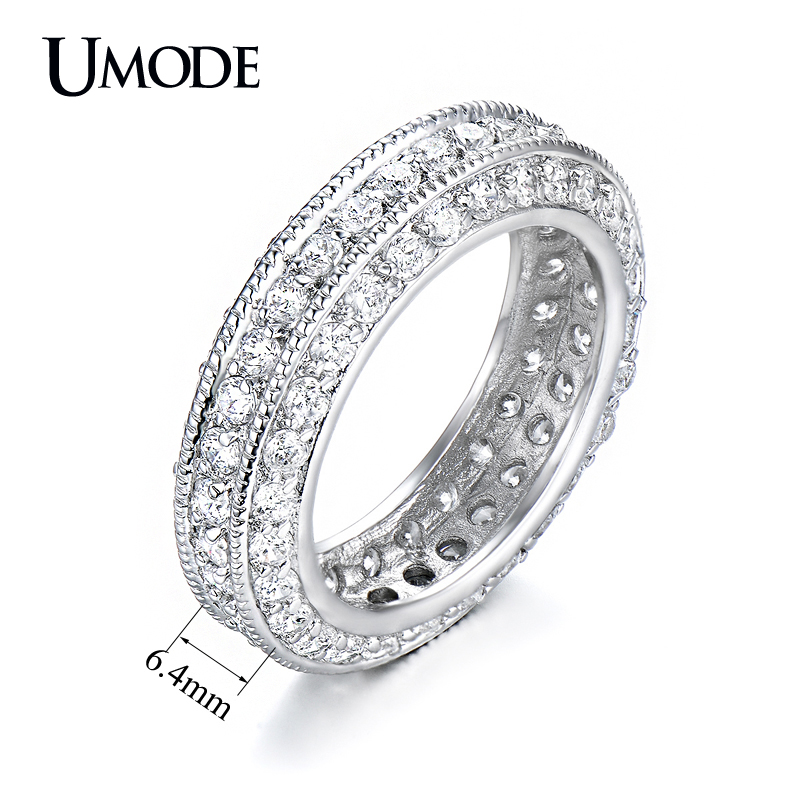 Umode Brand Fashion Anel Antique Eternity Rings For Women Jewelry White Gold Color Top Cz Wedding Bands Bague Femme Gift Aur0280 In From