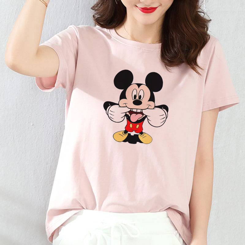 Top-Shirt Short-Sleeve Tumblr Blusas Slim Female Pink Cartoon Print Casual Fashion Women