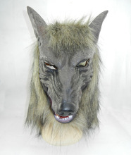 Animal Werewolf Cosplay Props Party Fancy Dress Scary Gray Wolf Head Masks Realistic Halloween Adult Latex Mask egyptian anubis cosplay face mask pvc canis spp wolf head animal masquerade props party halloween fancy dress ball