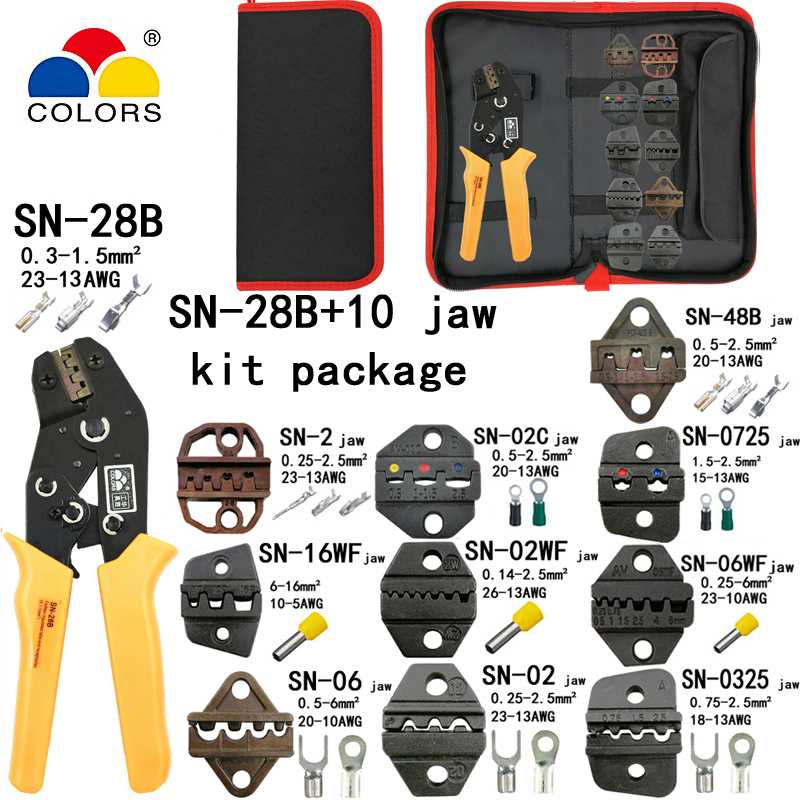 SN-28B Crimping Pliers 10 Jaws For TAB 2.8 4.8 6.3/C3 XH2.54 3.96 2510/tube/non Insulation Terminals Electrical Clamp Kit Tools