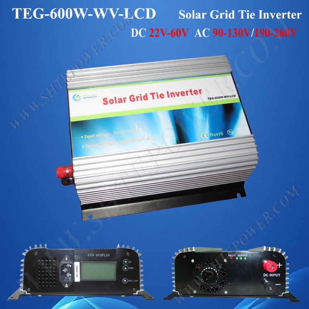 600W grid-tied inverter, grid tie solar power converter dc to ac, 24v 220v grid tie inverter solar with LCD