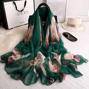 Image 1 - Thương hiệu mùa hè 2019 LụA Nữ khăn choàng và đeo thời trang kích thước lớn mềm mại Khăn choàng Pashmina bãi biển stoles foulard echarpe Hijabs