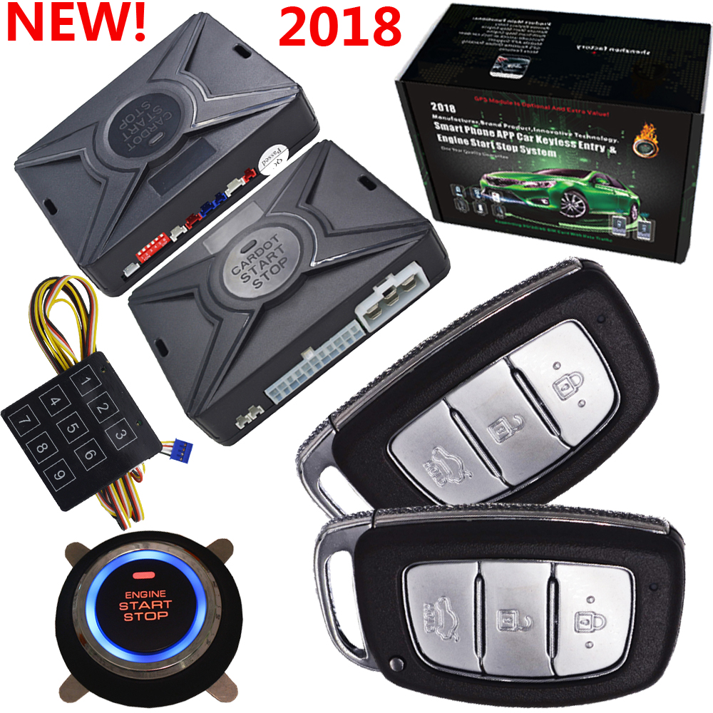 cardot pke auto remote car alarm& engine start stop system password emergency unlock and lock car door remote start stop engine easyguard pke car alarm system remote lock unlock remote engine start push button start stop remote trunk release shock alarm