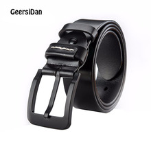 GEERSIDAN 2018 cowhide genuine leather belts for men brand Strap male pin buckle vintage jeans belt 140-160 cm long waist 42-54 2mbi75p 140 genuine kwcdz