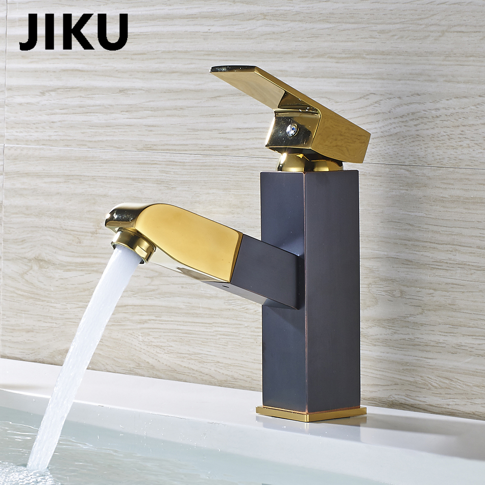 JIKU Full Copper Retro Black Bronze Faucet Black Antique Brushed Basin Faucet Hot Cold Water SimpleSingle Handle Single Contr in Basin Faucets from Home Improvement