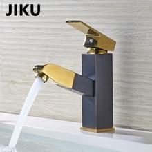 JIKU Full Copper Retro Black Bronze Faucet Black Antique Brushed Basin Faucet Hot  Cold Water SimpleSingle Handle Single Contr цена