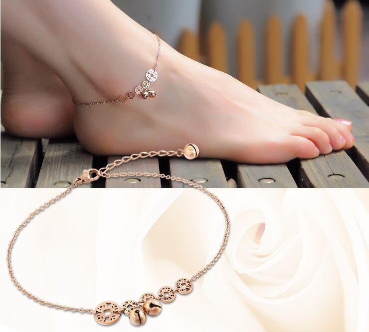 316L Stainless Steel Anklet Chains with Lucky coins bells Charms titanium Steel Ankle Bracelet Foot Jewelry Christmas gifts