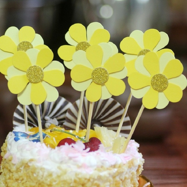 cake toppers sweet flower paper cards banner for fruit Cupcake ...