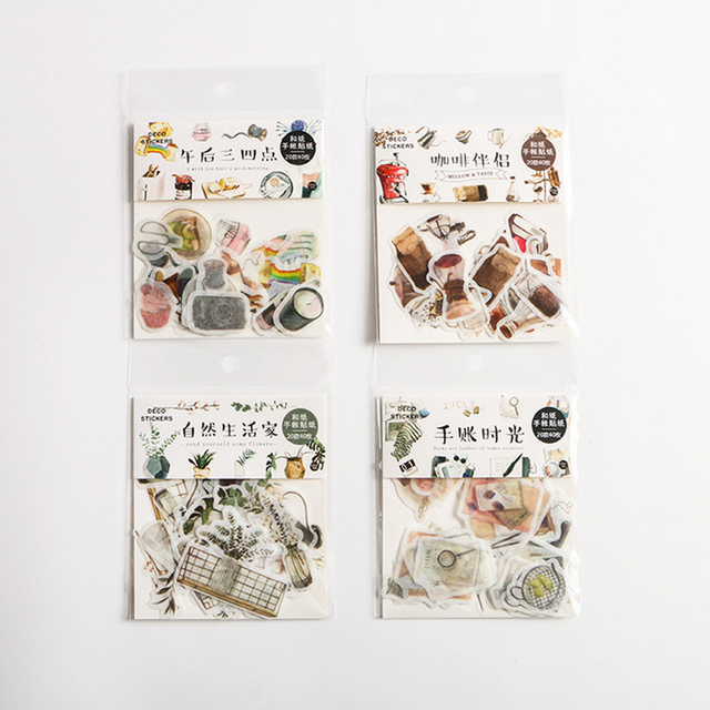 40 Pcs/Bag New vintage natural life paper sticker decoration stickers DIY for craft diary scrapbooking planner label sticker 4