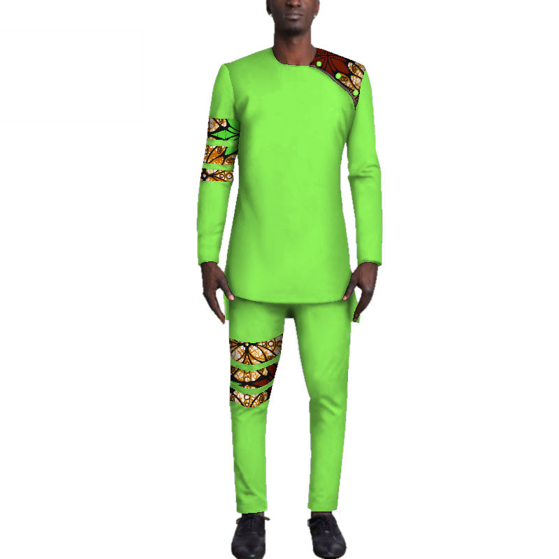 Casual-Mens-African-Clothing-Bazin-Riche-Patchwork-Top-Shirt-and-Pants-for-Men-Custom-100-Cotton(6)